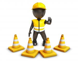 3D Render of Morph Man Builder with Caution Cones